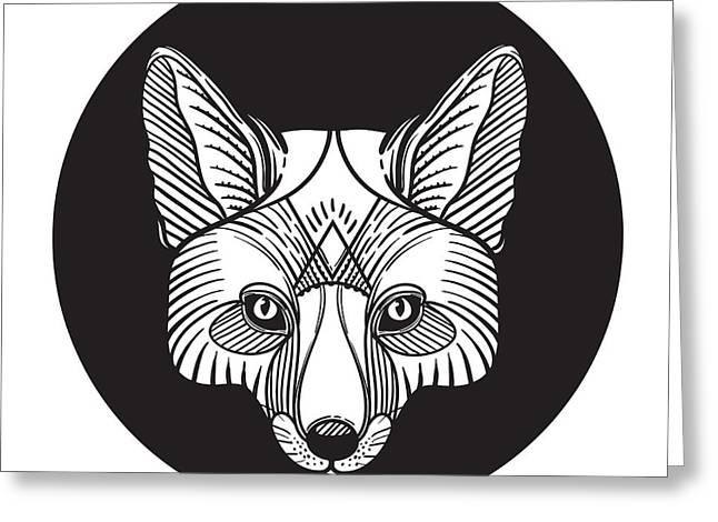 Animal Fox Head Print For Adult Anti Greeting Card
