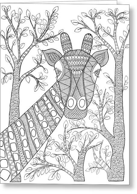 Animal Giraffe 2 Greeting Card by Neeti Goswami