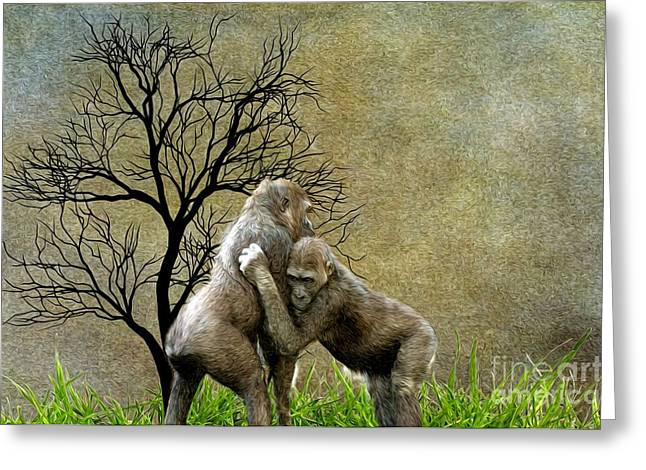 Animal - Gorillas - Aint Love Grand Greeting Card