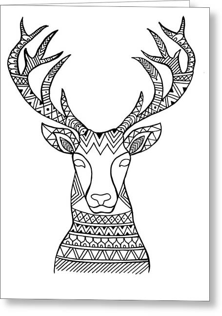 Animal Head Deer Greeting Card by Neeti Goswami