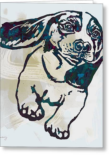Animal Pop Art Etching Poster - Dog - 10 Greeting Card by Kim Wang