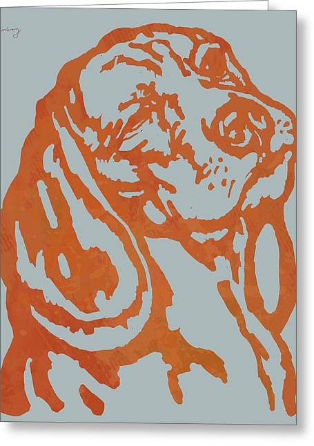 Animal Pop Art Etching Poster - Dog 11 Greeting Card