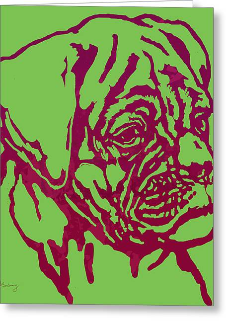 Animal Pop Art Etching Poster - Dog 13 Greeting Card