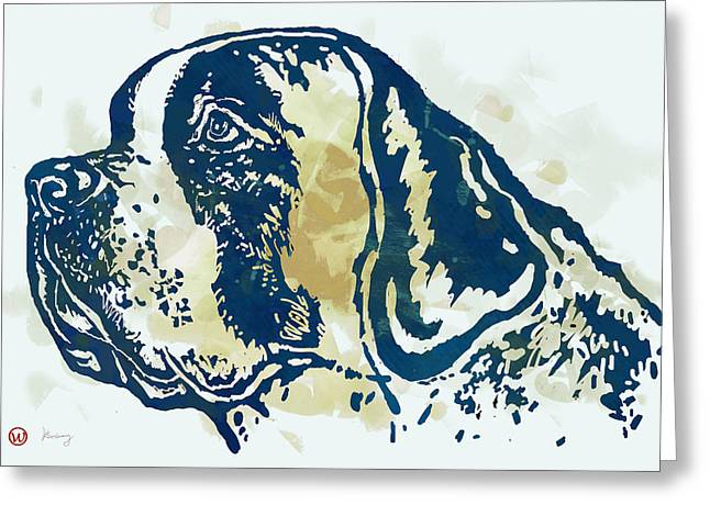 Animal Pop Art Etching Poster - Dog - 3 Greeting Card by Kim Wang