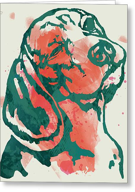 Animal Pop Art Etching Poster - Dog - 7 Greeting Card by Kim Wang