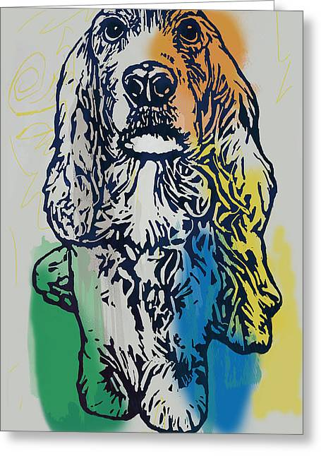 Animal Pop Art Etching Poster - Dog - 8 Greeting Card by Kim Wang