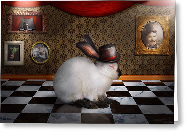 Animal - The Rabbit Greeting Card by Mike Savad