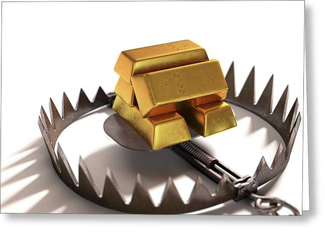Animal Trap With Gold Bars Greeting Card by Ktsdesign