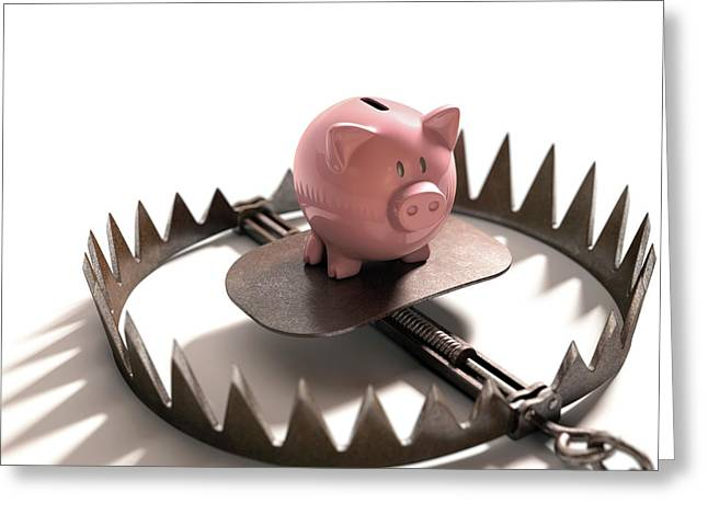 Animal Trap With Piggy Bank Greeting Card by Ktsdesign