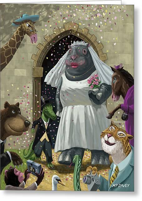 Animal Wedding Greeting Card by Martin Davey