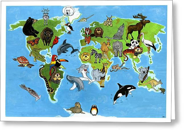 Animal World Greeting Card by Kirsty Breaks