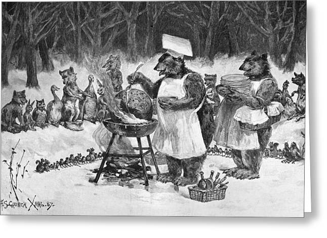 Animals Cooking, 1887 Greeting Card by Granger