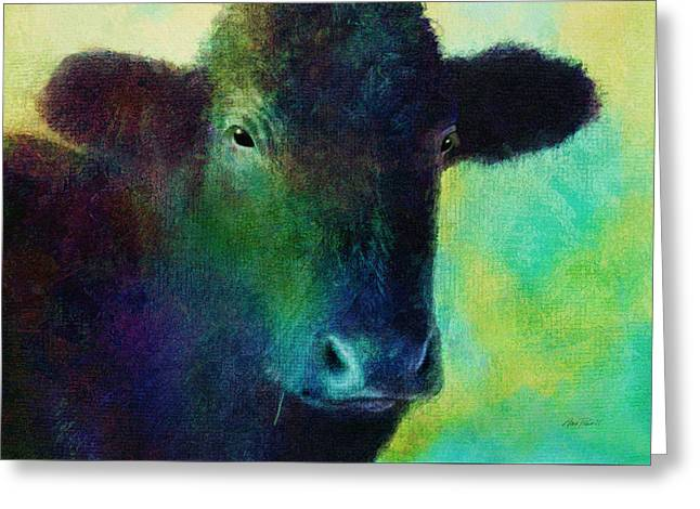 animals - cows- Black Cow Greeting Card by Ann Powell
