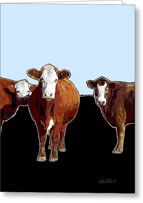 Animals Cows Three Pop Art With Blue Greeting Card by Ann Powell
