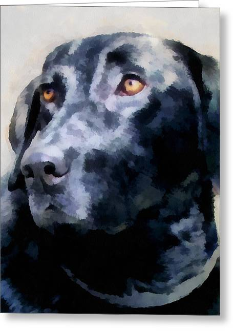 animals - dogs - Black Lab Greeting Card by Ann Powell