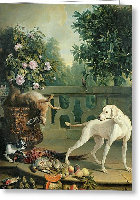Animals, Flowers And Fruits Oil On Canvas Greeting Card
