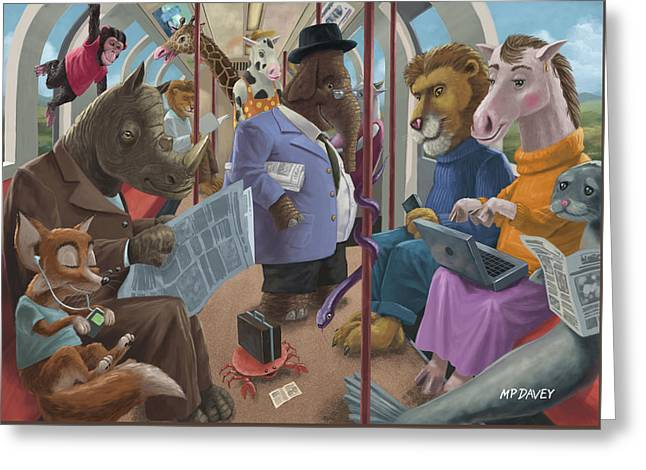 Animals On A Tube Train Subway Commute To Work Greeting Card by Martin Davey