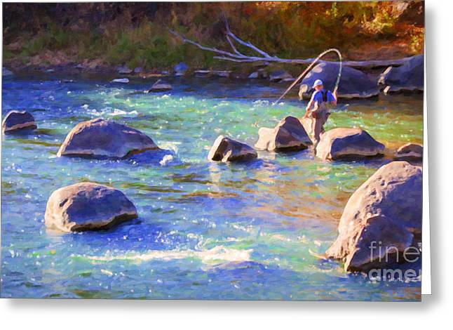 Animas River Fly Fishing Greeting Card by Janice Rae Pariza