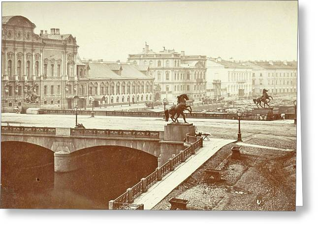 Anitschkowbrug With Images Of The Horse Tamers In St Greeting Card