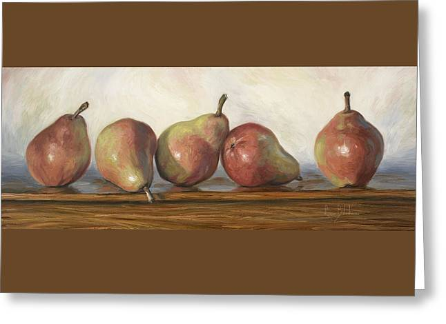Anjou Red Pears Greeting Card by Lucie Bilodeau