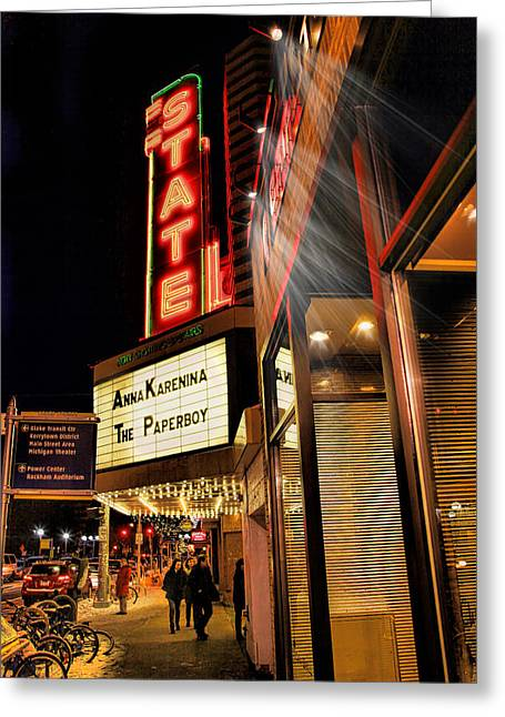 State Theater Marquee Greeting Card by Pat Cook