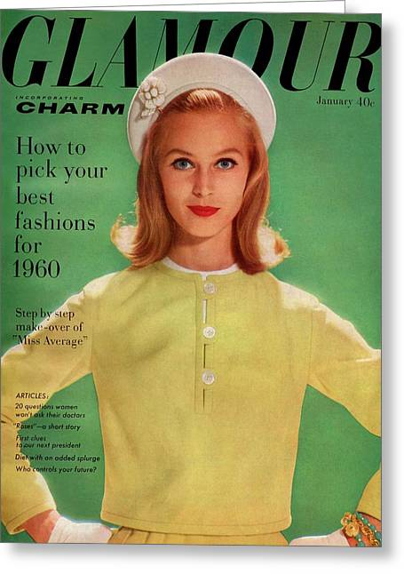 Ann Klem On The Cover Of Glamour Greeting Card by Sante Forlano