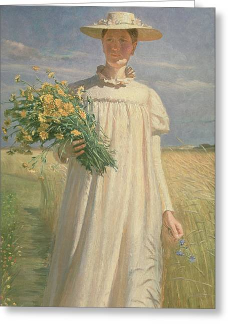 Anna Ancher Returning From Flower Picking, 1902 Greeting Card by Michael Peter Ancher