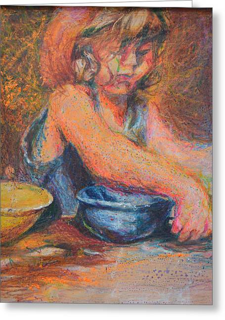 Anna And Mixing Bowls Greeting Card by Nancy Mauerman
