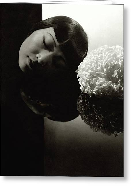 Anna May Wong Resting Her Head Greeting Card by Edward Steichen