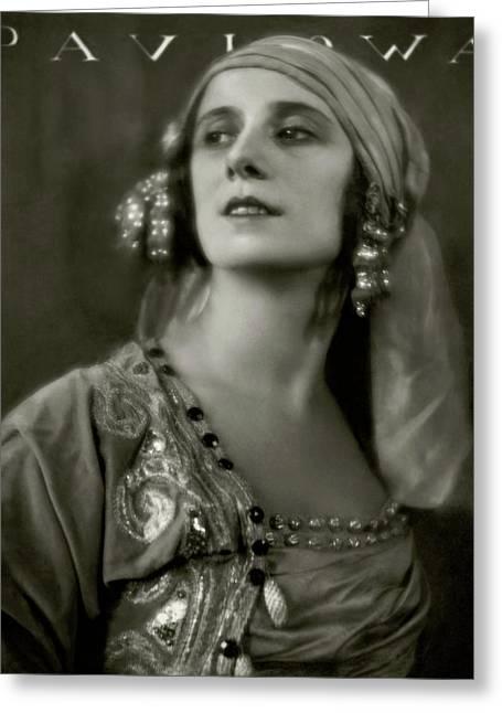 Anna Pavlova Wearing An Ornate Dress Greeting Card by Eugene Hutchinson