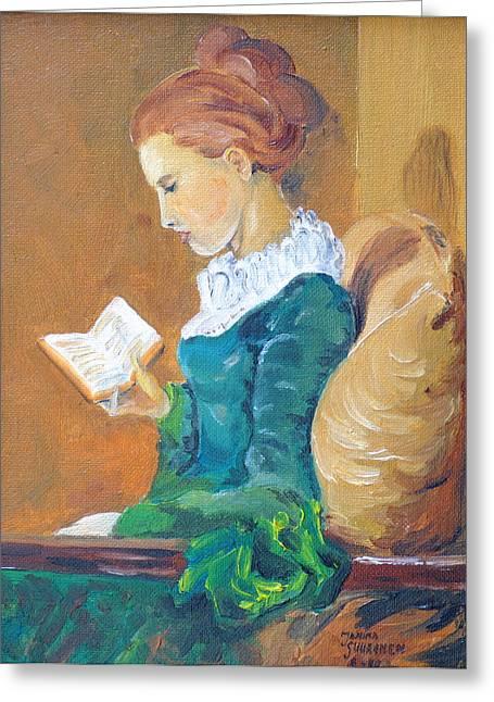 Anna Reading Greeting Card by Janina  Suuronen