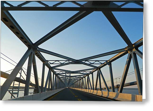 Annapolis Bay Bridge At Sunrise Greeting Card by Emmy Marie Vickers