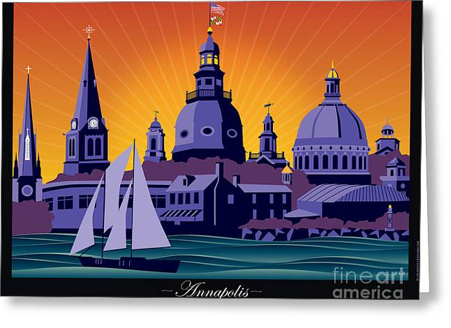 Annapolis Steeples And Cupolas Greeting Card
