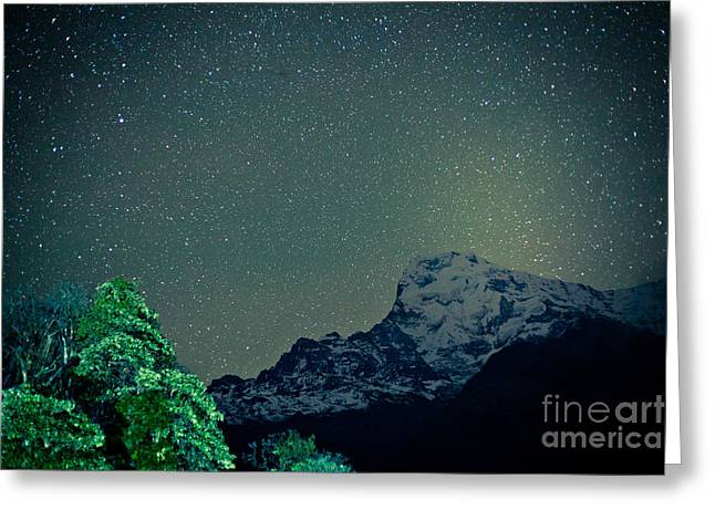 Greeting Card featuring the photograph Annapurna At Night Sky In Himalayas Mountain Nepal 2014 Artmif.lv by Raimond Klavins