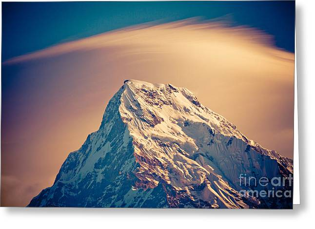 Greeting Card featuring the photograph Annapurna South At Sunrise In Himalayas Artmif Photo Raimond Klavins by Raimond Klavins