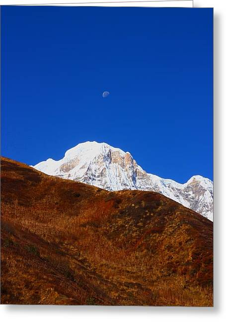 Annapurna South Moon Rise Greeting Card by FireFlux Studios