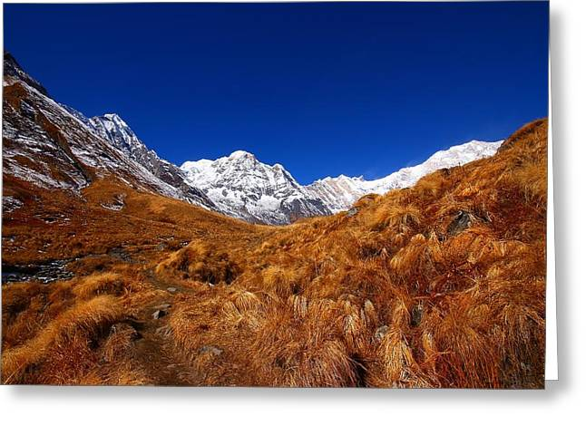 Annapurna South Ridge Greeting Card by FireFlux Studios