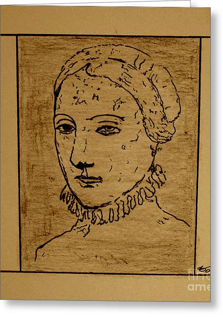 Greeting Card featuring the drawing Anne by Bill OConnor