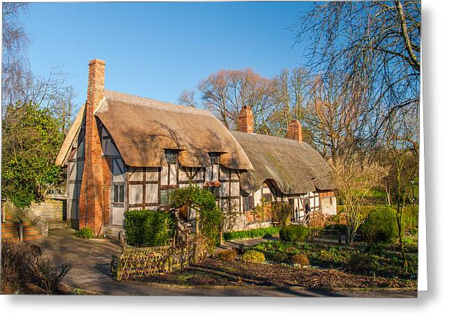 Anne Hathaways Cottage Stratford Upon Avon Greeting Card by David Ross