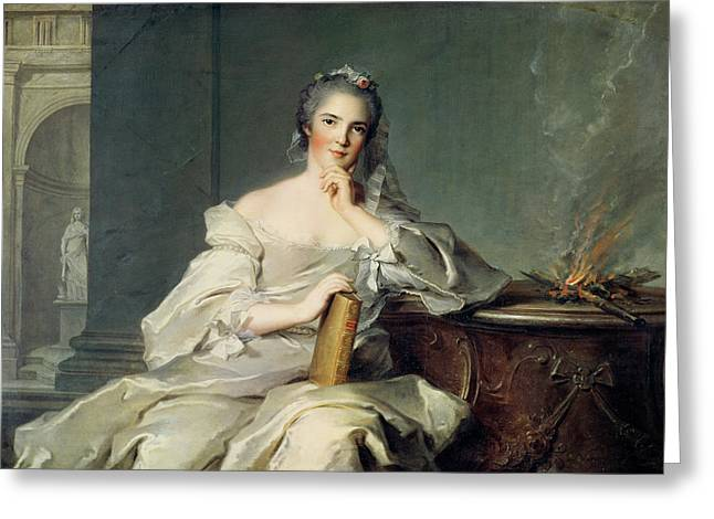 Anne-henriette De France, As The Element Of Fire, 1750-1 Oil On Canvas Greeting Card by Jean-Marc Nattier