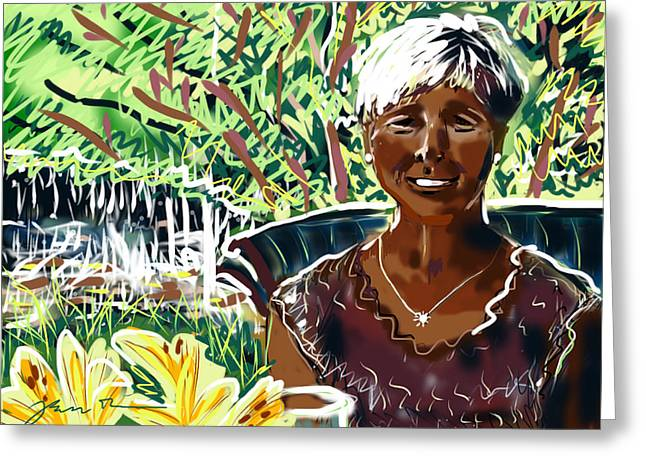 Greeting Card featuring the painting Anne by Jean Pacheco Ravinski