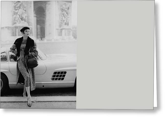 Anne St. Marie By A Mercedes-benz Car Greeting Card by Henry Clarke