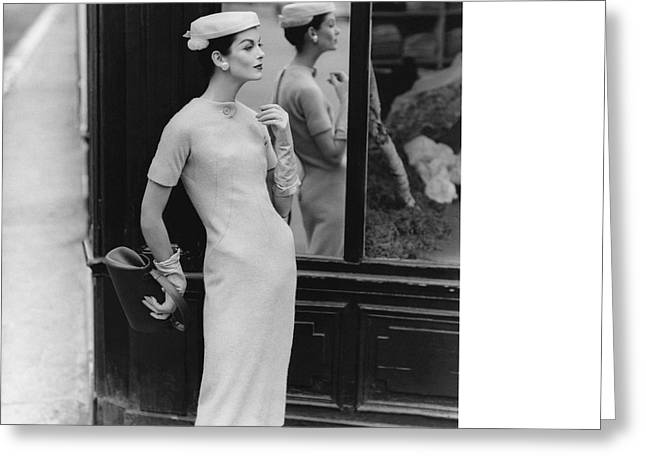 Anne St. Marie Wearing Givenchy Greeting Card by Henry Clarke