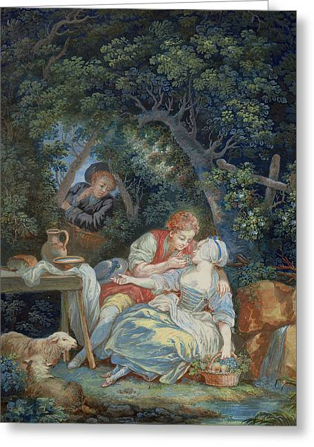 Annette And Lubin  Greeting Card by Pierre Antoine Baudouin
