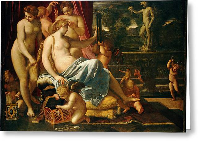 Annibale Carracci, Venus Adorned By The Graces Greeting Card by Litz Collection