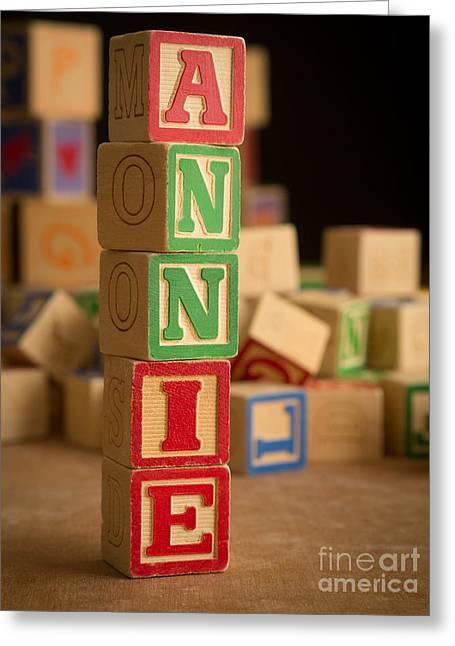 Annie - Alphabet Blocks Greeting Card by Edward Fielding