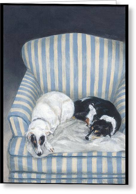 Annie And Spike Napping Greeting Card