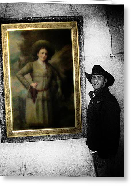 Annie Oakley With A Cowboy Greeting Card by Thomas Woolworth