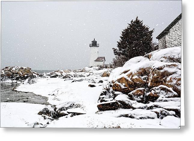 Annisquam Light-snow Storm Greeting Card