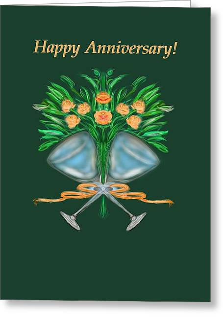 Greeting Card featuring the digital art Anniversary Bouquet by Christine Fournier
